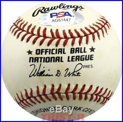 Jack Buck Autographed NL Baseball Inscribed HOF 87 PSA Cardinals Broadcaster