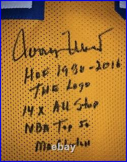 Jerry West Signed Los Angeles Lakers Autographed Inscribed Stat Jersey SSG & JSA