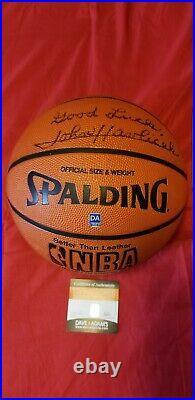 John Havlicek NBA Boston Celtics Autographed Basketball Inscribed Good Luck