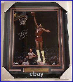 Julius Dr. J Erving Autograph Signed & Inscribed 76ers 16x20 Photo Framed JSA HOF