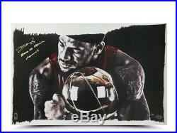 LeBron James Autographed 16X24 Print Inscribed Back to Back Champs #/50 UDA