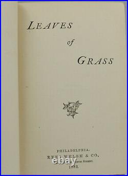 Leaves of Grass SIGNED by WALT WHITMAN 1882 Autographed Hardcover