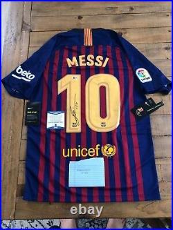 Lionel Messi Autographed Barcelona Nike Jersey Inscribed Leo Beckett COA