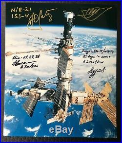 MIR photo signed/inscribed by cosmonauts Onufrienko, Gidzenko, Kaleri, Lazutkin