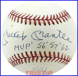 Mickey Mantle Signed Autographed Al Baseball Inscribed Mvp 56, 57, 62 Psa 9 Loa