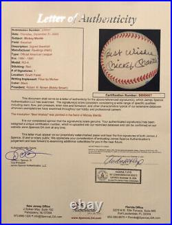 Mickey Mantle Signed Autographed Baseball. Inscribed Best Wishes. JSA