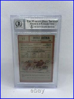 Mike Ditka Signed Inscribed 1962 Topps #17 Rookie Card Beckett Grade 10 Auto 5