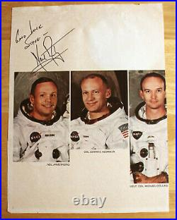 NEIL ARMSTRONG Autograph / Inscribed Signed Paper APOLLO XI Crew Photo
