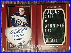 NIKOLAJ EHLERS 2017-18 The Cup Autographed Ticket Booklet Inscribed SP #3/7