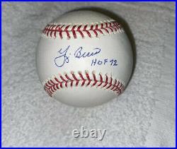NY YANKEES Yogi Berra Signed autographed OMLB Baseball HOF 72 Inscribed BAS COA