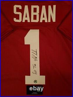 Nick Saban Autograph Signed Alabama Jersey Inscribed Includes Coa