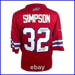 OJ Simpson Autograph Inscribed HOF Red Buffalo Bills Jersey JSA Signed O. J