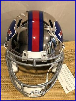 OJ Simpson Autographed Bills Full Size Chrome Speed Helmet HOF 85 Inscribed JSA