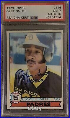 OZZIE SMITH Signed 1979 Topps ROOKIE Card Inscribed HOF 2002 PSA 7 /10 Autograph
