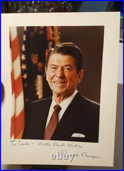 PRESIDENT RONALD REAGAN Hand Signed Autographed Inscribed Framed Photo