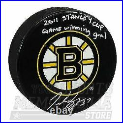 Patrice Bergeron Boston Bruins Signed Autograph Game Winning Goal Inscribed Puck