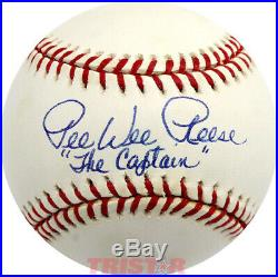 Pee Wee Reese Signed Autographed Nl Baseball Inscribed The'captain' Psa
