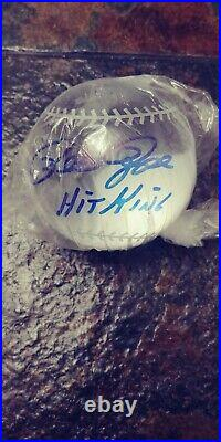 Pete Rose autographed lead crystal baseball inscribed Hit king
