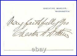 President Chester Arthur signed White House Card JSA LOA Inscribed Auto Z495