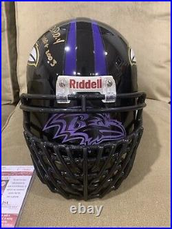 Ray Lewis Autographed Mulit- Inscribed Authentic Helmet JSA