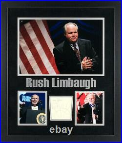 Rush Limbaugh Autographed Cut Signature Inscribed My Best Framed with Photos PSA