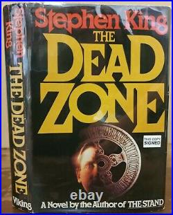 SIGNED 1979 Stephen King THE DEAD ZONE Hardcover Book DJ First BCE Autographed