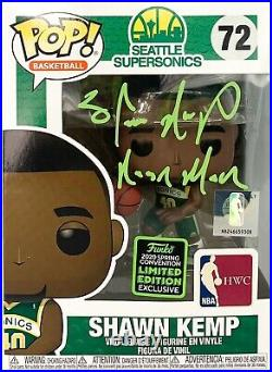 Shawn Kemp autographed signed inscribed funko pop Seattle Supersonics PSA RARE