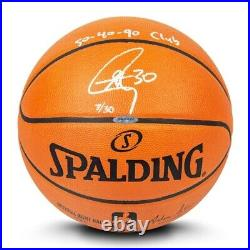 Stephen Curry Autographed Basketball Inscribed 50-40-90 Club Warriors /30 UDA