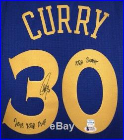Stephen Curry Autographed Inscribed NBA Warriors Signed Jersey (BAS & CURRY COA)