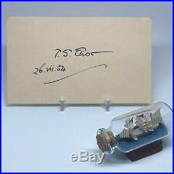 T. S. Eliot signed 3x5 cut JSA LOA Famous Poet Inscribed Auto Rare d. 1965 Z339