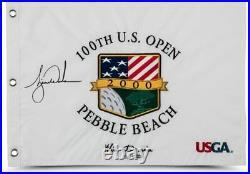 TIGER WOODS Autographed 2000 US Open Inscribed Flag UDA LE 500