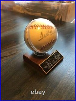 Ted Williams Autographed Baseball withInscribed Display Case