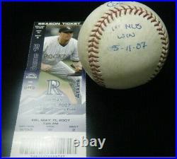 Tim Lincecum 1st MLB Win 5-11-2007 Signed game used Inscribed baseball Giants