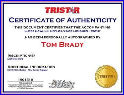 Tom Brady Signed Autographed Super Bowl 53 Trophy Inscribed Most SB TD's TRISTAR