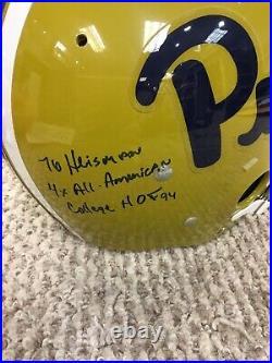 Tony Dorsett Signed Auto Autograph Inscribed Stat Pitt Full Size Helmet HOF