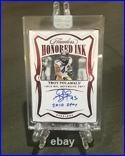 Troy Polamalu Auto 4/5 -2020 Flawless Honored Ink 2010 DPOY inscribed on card