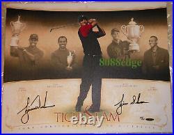 Uda Tiger Slam Canvas Inscription Auto Tiger Woods #28/50 Inscribed Autograph