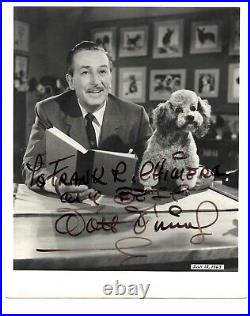 Walt Disney signed 8x10 Black & White JSA LOA Inscribed Bold Auto Rare B644