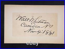 Walt Whitman signed Inscribed Cut JSA LOA Rare Poet d. 1892 Bold Auto Z591