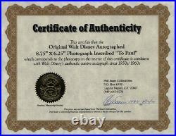 Walter E. Walt Disney Autographed Inscribed Photograph