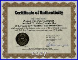 Walter E. Walt Disney Inscribed Photo Mount Signed