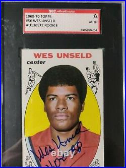 Wes Unseld 1969-70 Topps #56 SGC Authentic Hand-signed Auto Inscribed HOF 88