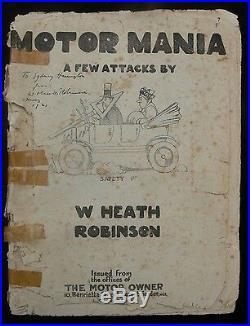 William Heath Robinson 1921 Signed & Inscribed Copy of Motor Mania