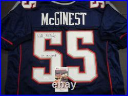 Willie McGinest NE Patriots Autographed & Inscribed Custom Blue Jersey JSA COA