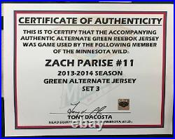 Zach Parise Autographed/Inscribed 2013-14 Game Worn Jersey Minnesota Wild
